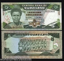 SWAZILAND 5 EMALANGENI P14 1987 *A* KING WARRIOR UNC MONEY AFRICAN BANK NOTE
