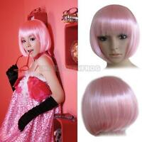 UN3F Fashion Bobo Short Straight Pink Party Dress Hair Wig Cosplay
