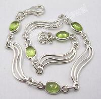 "925 Sterling Silver High End GREEN PERIDOT Gemset MODERN Bracelet 8.25"""