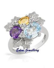 $260 FPJ Pretty Ring GENUINE Amethyst Citrine Topaz 925 Sterling Silver 60% OFF