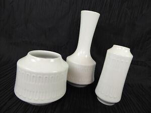 White 60s Vintage Konvolut 3 weisse Hutschenreuther Porzellan Vasen Op Art