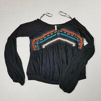 Free People Womens Medium Aztec Print Long Sleeve Linen Blend Urban Outfitters
