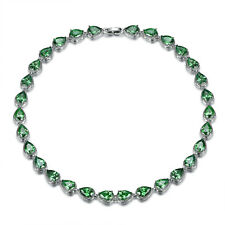 """Teardrop Green Emerald Tennis Necklace 18K White Gold Filled Party Jewelry 18"""""""
