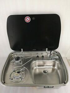 Boat Caravan 2 Burner Gas Stove Sink Combo Tempered Glass 600*445*145mm GR-588