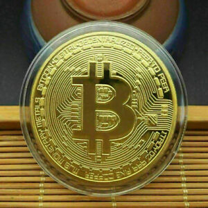 5Pcs Gold Bitcoin Commemorative New Collectors Gold Plated Bit Coin