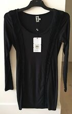 Women's Bettina Liano Black Long Sleeve Stretch Dress With Fringe Sz 12 NWT
