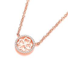 J Jaz VENERE 9ct rosa placcato oro trifoglio, QUADRIFOGLIO pendente a cerchio