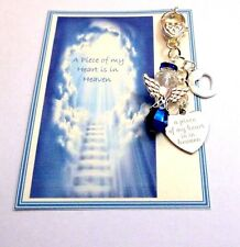 A Piece of my Heart is in Heaven Bag Charm Crystal Guardian Angel Cut-out Heart