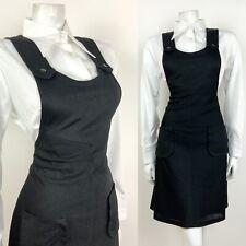 VINTAGE 60s 70s BLACK KNIT APRON PINAFORE PINNY DRESS 12 14