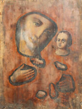 Antique Orthodox hand painted icon The Virgin and Christ child