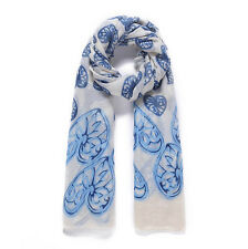 White and Blue Leaf Print Scarf
