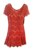 NWT Aqua Tulle Lace Red Coctail Dress Size 4 $248