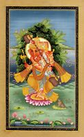 Hand Painted Lord Ganesha Painting Of Indian Miniature Art Hindu Religion Finest