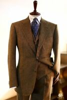 Wool Blend Men Suit Herringbone Tweed Suit Groom Tuxedo Party Prom Classic Suit