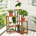 6Tier Wood Corner Shelf Flower Rack Plant Stand Ladder Pot Holder Indoor Outdoor