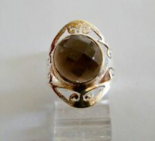 Sterling Silver 925 Genuine Faceted Smokey Quartz Ring Filigree Band