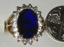 Yellow Gold Filled Blue Cubic Zirconia Oval Cut Vintage Style Ring - Size K 1/2