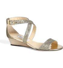 NIB $675+ Jimmy Choo CHIARA Strap Light Bronze Glitter Wedge Sandal Shoe 36 / 6