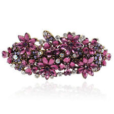 Elegant Purple Rhinestone Crystal Flower Barrette Gold Tone Hair Clip Party Gift