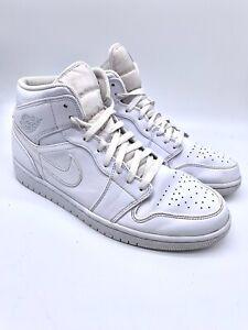 Nike Air Jordan 1 Mid High Top 8 Eyelet Basketball Boot Trainer White Uk 10 45