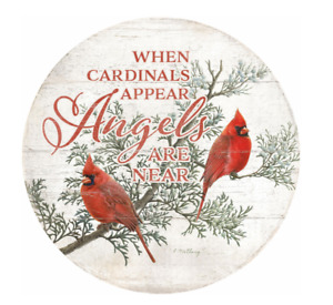 "When Cardinals Appear 12"" Round Wood Sign by Catherine McClung"