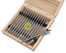13pc Wood Drill Bit Set Flat Spade Hex Shank 150mm Length 6mm Upto 25mm Woodwork