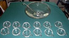 Punch Bowl Handblown Glass-Bowl, ladle and 12 glasses