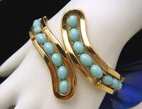 Crown Trifari Vintage Bracelet Turquoise Lucite Cabochon Gold Tone Ribbon Design