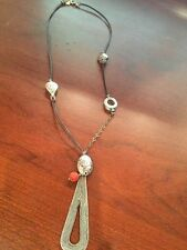 Silpada Retired Red Coral Sterling Silver Long Leather Necklace N1950