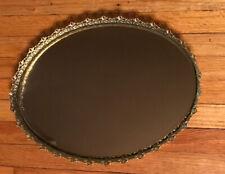 Vtg Large Filigree Gold Metal Framed Mirrored Vanity Tray Perfume Mirror Oval