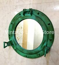 Antique Green Porthole Ship Boat Port Hole Round Mirror Home Wall Decor 11""