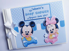 PERSONALISED DISNEY BABY MICKEY AND MINNIE GUEST BOOK - ANY DESIGN