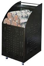 Porta legna acciaio con ruote piroettanti colore nero Cm. 32x42x80