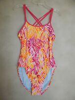 NIKE Women's Pink Orange Double Crossback Swimsuit One Piece SIZE 34 or 8