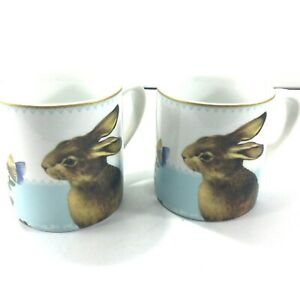 Pair of Mugs Williams Sonoma Rabbit, Butterfly, Roses Easter