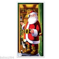 CHRISTMAS SANTA IN DOORWAY WITH PUPPY DOOR COVER POSTER PARTY DECORATION PROP