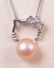 NEW HELLO KITTY CRYSTAL NECKLACE WITH PEACH PEARL