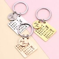 Personalized Calendar Keychain Hand Carved Calendar Highlighted with Heart Date