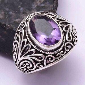Amethyst Ethnic Handmade Ring Jewelry US Size-11 AR 42207