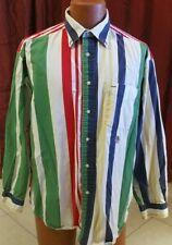 Vintage 1990s Mens Tommy Hilfiger Shirt Striped Multi Color Long Sleeve Size L