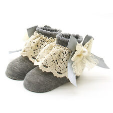 Newborn Toddler Infant Baby Girl Anti-slip Lace Cotton Socks Slipper Shoes Boots