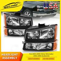 Headlight+Bumper Lamps Pair For 2003-06 Chevy Silverado 02-06 Avalanche Headlamp