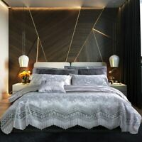 Jacquard Gray Comforter Bedding Set Satin Bed Lace Duvet Cover Sheet Pillowcase