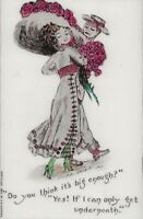 "Ca 1908 ""Merry Widow Hat"" Vintage Color Reprinted French Postcard - MW-18"
