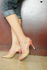 Imported JILL STUART orange-pink combo glitter-detail sandals shoes, size7