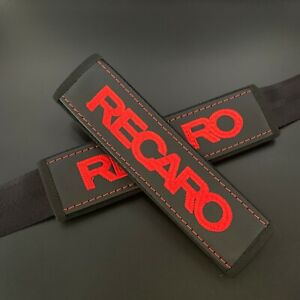 Black Seat Belt Shoulder Pads Cover with red embroidery Recaro 2pcs