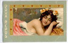 Doux Repos ART NOUVEAU Seminude Glamour Girl PC Circa 1900 THEO STROEFER S 240