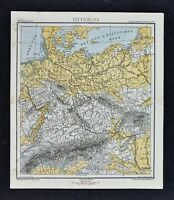 1875 Lange Map - Physical Germany Bohemia Poland Switzerland Alps Central Europe
