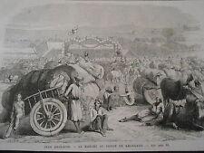 Gravure 1872 - Inde Anglaise Le Marché au Coton de Khangaon