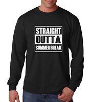 Long Sleeve Straight Outta Summer Break Shirt Back To School T-Shirt College Tee